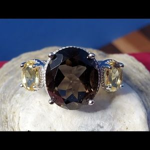 Smoky Topaz and Citrine Ring Sterling Sz 7